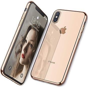 DTTO iPhone XS 専用ケース TPU ソフト 背面クリア 周りメッキ加工 超薄型 超軽量 ワイヤレス充電対応 水洗い可 傷つき防止 ゴールド