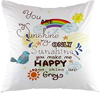 oFloral Decorative Throw Pillow Case You are My Sunshine with Bird Cloud and Sun Square Cushion Cover for Home Sofa Bed Chair Couch Living Room Decoration Euro Pillow Size 18 x 18 Inch