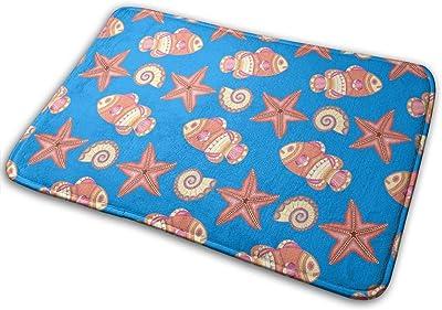 Fish Starfish Seashells Carpet Non-Slip Welcome Front Doormat Entryway Carpet Washable Outdoor Indoor Mat Room Rug 15.7 X 23.6 inch