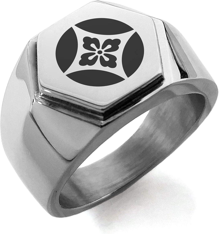 Stainless Steel Takahashi Samurai Crest Hexagon Crest Flat Top Biker Style Polished Ring