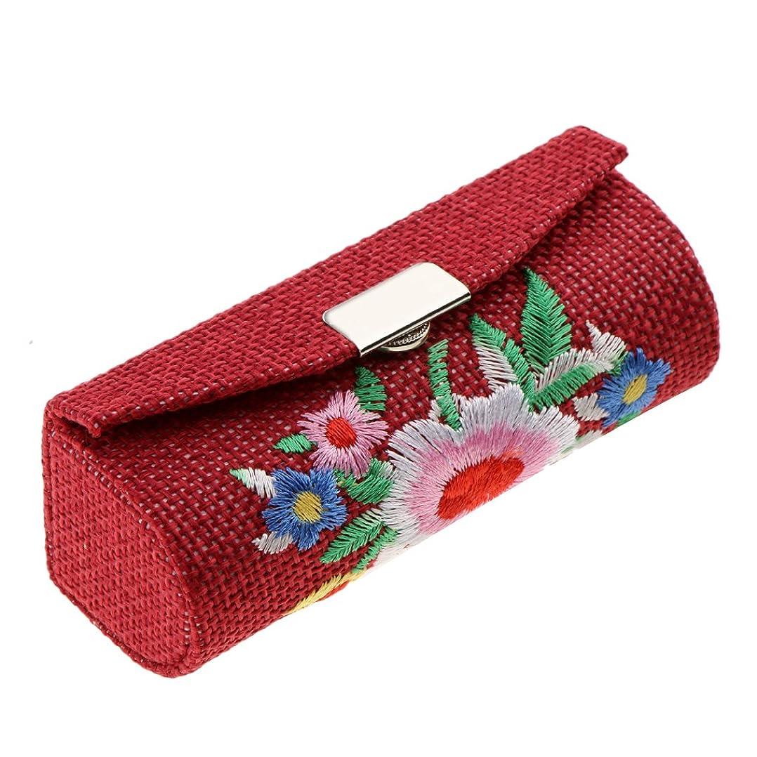 誰も避難する植生Kesoto 化粧ポーチ 口紅ホルダー リップグロス リップスティック 収納ケース メイクアップ ストレージ ミラー付き リネンファブリック刺繍 レトロ 高品質 6色選べる - ワインレッド