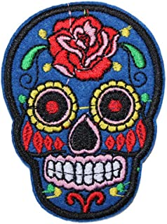 U-Sky Iron on Patches Sugar Skull for Jackets, 1pc Embroidered Sew-on/Iron-on Skull Appliques Patch for Motorcycle Clothes/Backpacks/Jeans/Vest/Shirt/Bags, Size: 2.7x1.9inch