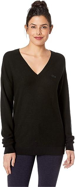 Long Sleeve Cotton V-Neck Sweater
