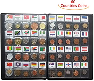 Coin Collection Set Fine Coins 60 Nations Collection Coins Starter Kit 100% Original Genuine with Leather Collection Album Country Flag and Name(60 Countries Coins) (60 Countries)