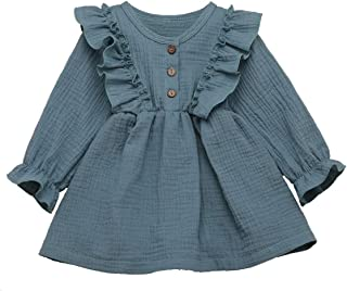 Arleysh Toddler Baby Girls Clothes Cotton Linen Button Dresses Cute Ruffle Princess Party Dress Long Sleeve Solid Ruffle Tops