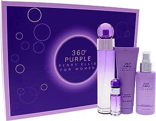 Perry Ellis 360 Purple by Perry Ellis Gift Set -- 3.4 oz Eau De Parfum Spray + .25 oz Mini EDP Spray + 4 oz Body Mist Spray + 3 oz Shower Gel / -- (Women)