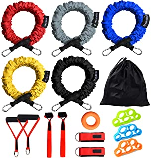 Rocutus Resistance Bands Set, 15 Pack Exercise Resistance Tubes with Anti-Snap Heavy Duty Protective Nylon Sleeves,20lbs to 40lbs Resistance Tubes,Door Anchor Ankle Strap up to 150lbs
