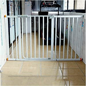 Telescopic Baby Safety Gates Auto Close Dual Lock Fence With Door Straight Bar Guardrail Pet Dog Fence Isolation Baby Child Baby Stairway Fence Pressure Mount