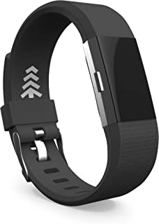 Teak - Fitbit Charge 2 Band - Silicone and Magnetic Loop Stainless Steel Replacement Wristband