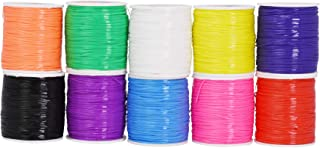 Mandala Crafts Plastic Lacing Cord Kit for Key Chains, Bracelets, Necklaces, Lanyards, Jewelry Making (Rainbow, 1.5mm)