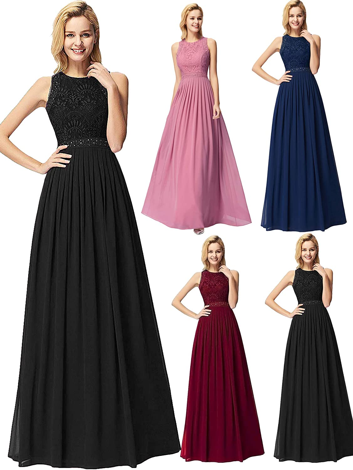 EverPretty Women Elegant A Line Long Pleated Prom Dress with Lace Bodice 07391
