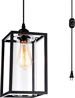 HMVPL Plug in Pendant Lighting Fixtures with Long Hanging Cord and Dimmer Switch, Vintage Metal Hanging Chandelier Swag Ceiling Lamp with Glass Shade for Kitchen Island Dining Table Bed-Room Foyer