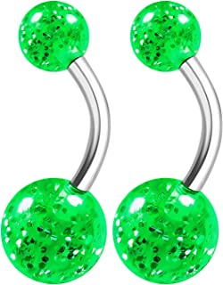 2PCS Surgical Steel Cute Belly Navel Bar Ring Stud 14 Gauge 3/8 10mm Acrylic Ball Earrings Piercing Jewelry See More Colors
