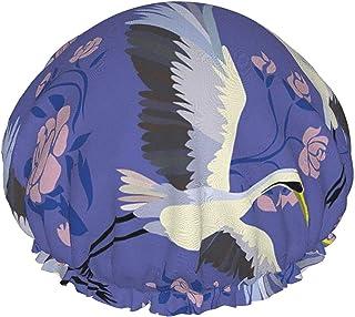 Czapka prysznicowa dla kobiet wodoodporna latające ptaki czapka z daszkiem podwójna warstwa czapka do włosów wielokrotnego...