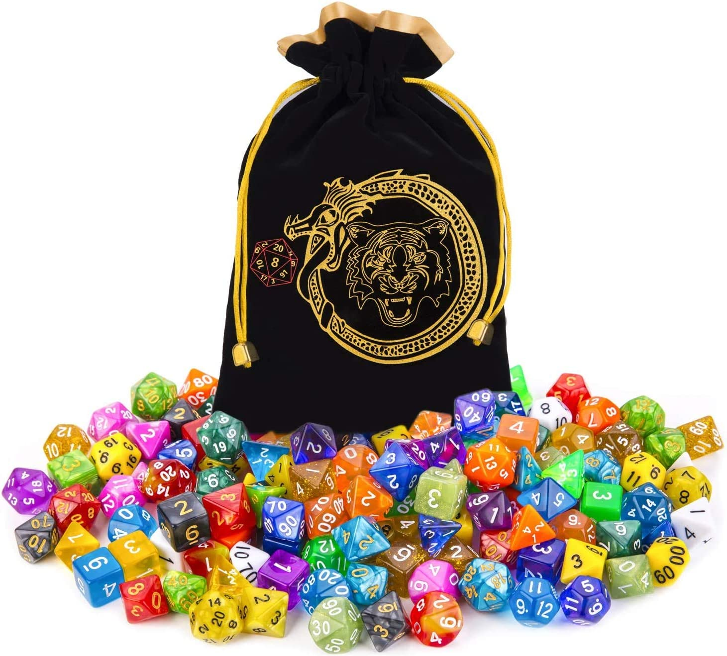 CiaraQ DND Dice Set 20 X 7 Polyhedral Dice (140pcs) with 1 Large Flannel Bag, D&D Dice ( D4 D6 D8 D10 D% D12 D20) for Dungeons and Dragons, RPG, MTG Table Games.