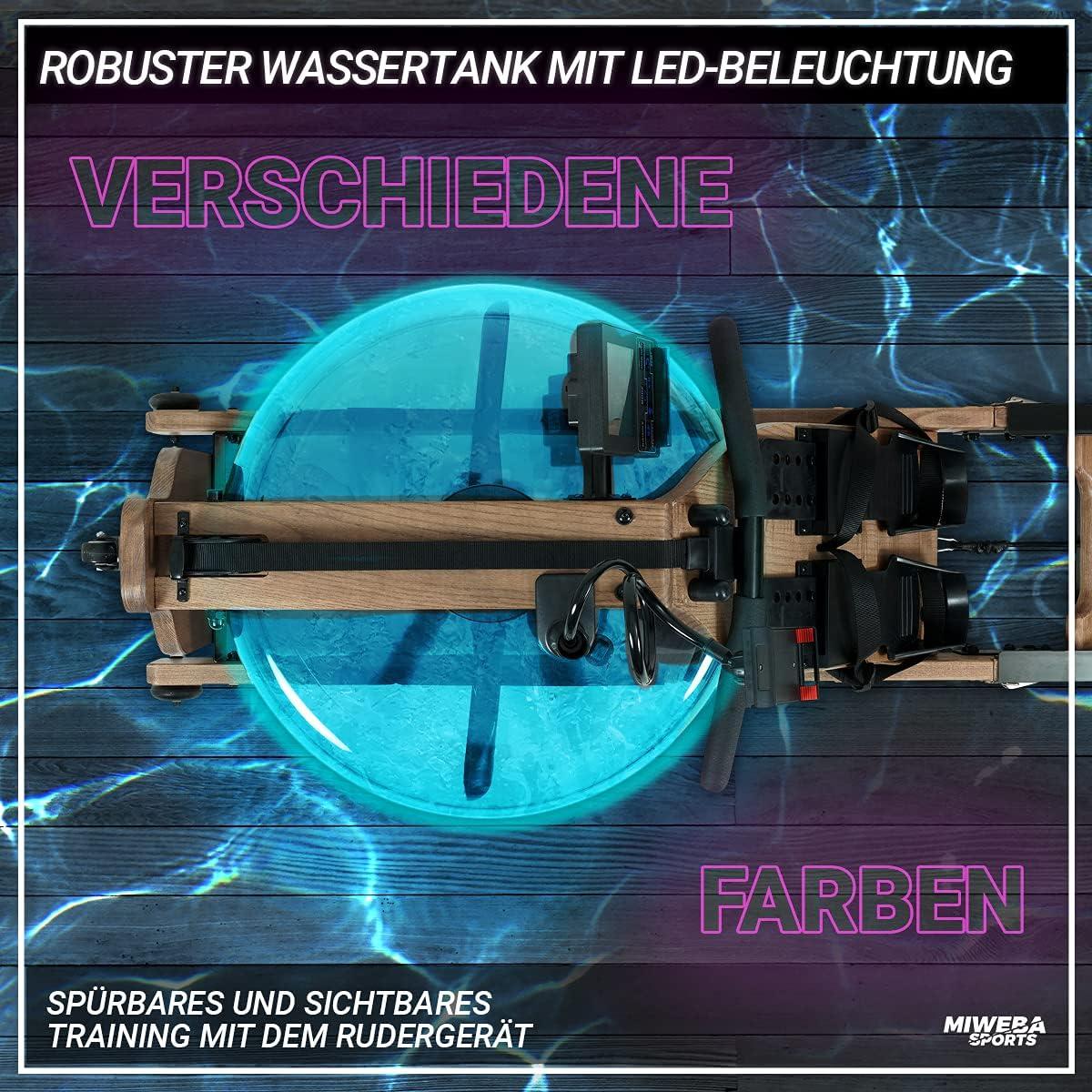 Miweba Sports WR700 Rudergerät Wassertank beleuchtet