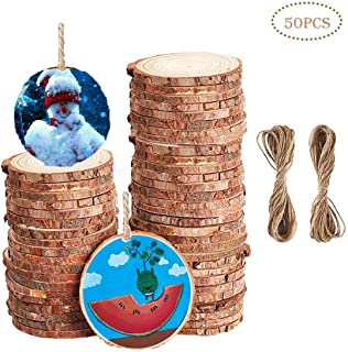Wood Slice, Natural Wood Slices Ornaments 50pcs 2.4-3.3 Inches Unfinshed Rustic Basswood for DIY Handmade Craft Gift Holiday Christmas Decoration