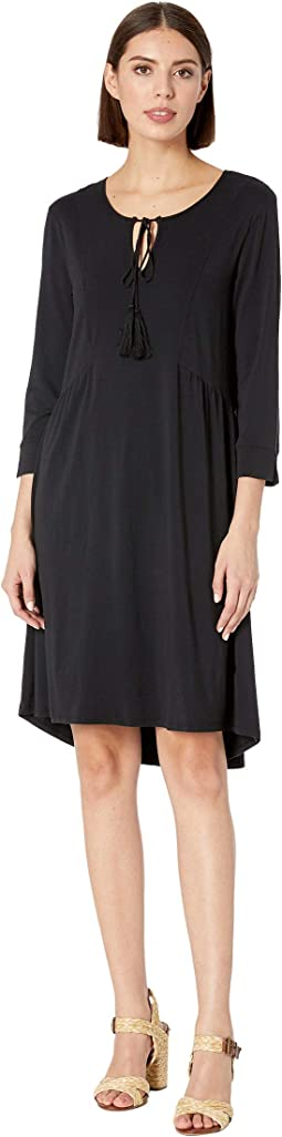 3/4 Sleeve Spliced Neck Dress in Cotton Modal Spandex Jersey