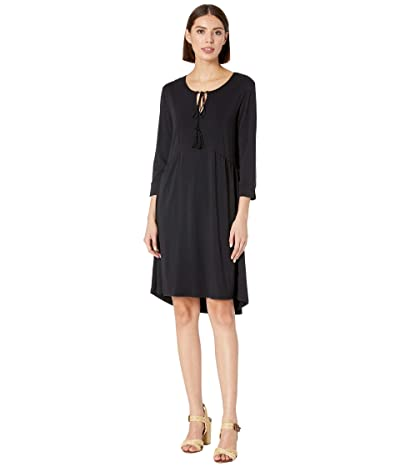 Mod-o-doc 3/4 Sleeve Spliced Neck Dress in Cotton Modal Spandex Jersey (Black) Women
