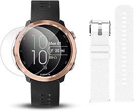 Garmin Forerunner 645 Music Bundle with Extra Band & HD Screen Protector Film (x4)   Running GPS Watch, Wrist HR, Music & Spotify, Garmin Pay (Rose Gold + Music, White)