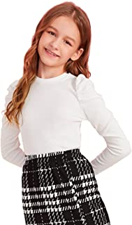 Floerns Girls Solid Puff Long Sleeve Round Neck Rib Knit Shirt Tee Top