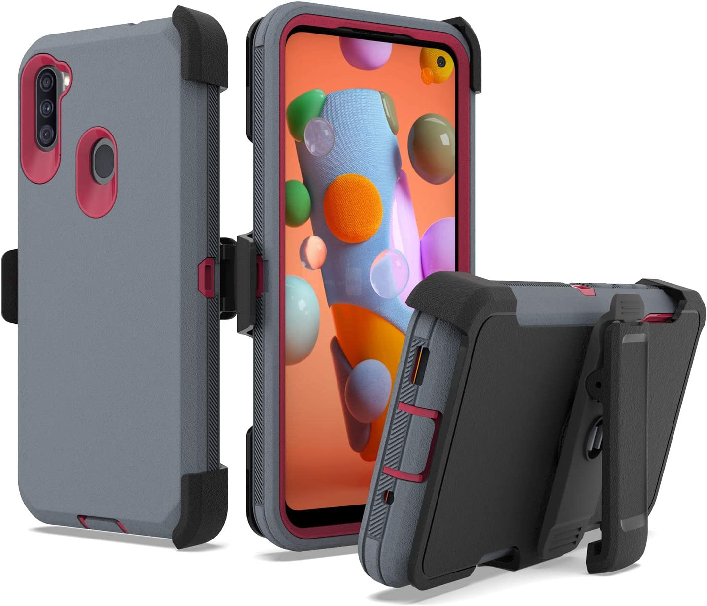 UNC Pro 3 in 1 Belt Clip Holster Cell Phone Case for Samsung Galaxy A11, Heavy Duty Hybrid Shockproof Bumper Case with Kickstand, Grey/Red