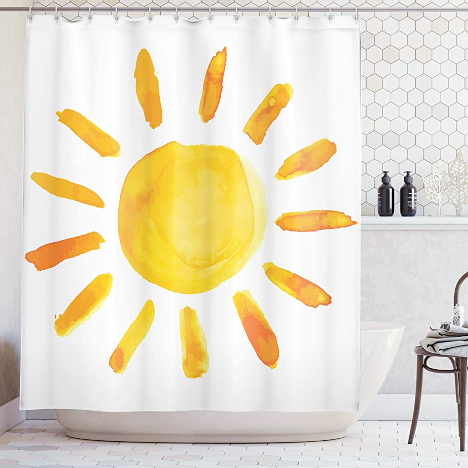 Ambesonne Grunge Home Decor Shower Curtain Set, Sun Illustration Childish Watercolor Brush Painting Style Kids Decor Playroom Picture, Bathroom Accessories, 69W X 70L Inches, Yellow White