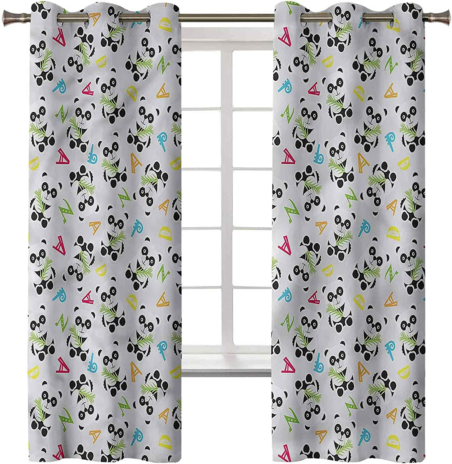 Panda Bedroom Curtains Directly managed store Set of 2 Panels x 42 Rustic Inch Curt Max 62% OFF 84