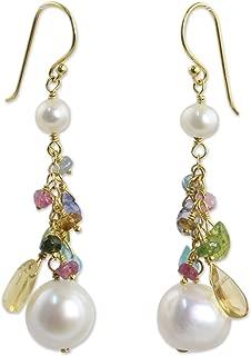 NOVICA Multi-Gem Cultured Freshwater Pearl 24k Gold Plated Sterling Silver Earrings, Rainbow Waterfall'