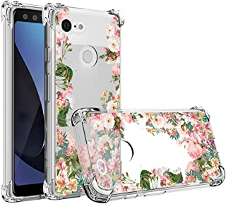Osophter Compatible with Google Pixel 3 XL,Pixel 3 XL Flower Case Shock-Absorption Flexible TPU Rubber Soft Silicone Full-Body Protective Cover for Google Pixel 3XL