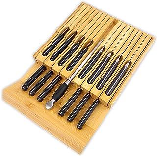 ODEDEN Bloc de couteaux de cuisine en bambou/porte couteau,organisateur de tiroir cuisine,16 couteaux (non inclus) et 1 ti...