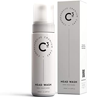 C3 Head Wash: Hydrating and Balancing, Fragrance-Free, Daily Foam Cleanser for Bald, Shaved, and Buzzed Heads. Gentle, Sulfate-free, Paraben-free, Irritation-Free Face and Scalp Care for Men and Women