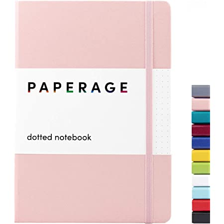 Paperage Dotted Journal Bullet Notebook, Hard Cover, Medium 5.7 x 8 inches, 100 gsm Thick Paper (Blush, Dotted)