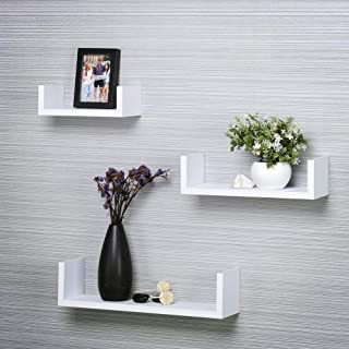 DECORVAIZ U Shape Dazzling Decorative Hanging Floating Wall Mounted Display Shelves for Bedroom & Living Room & Office - S...