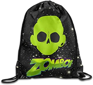 QiBePlo ZOMBOY Skull Logo Gym Drawstring Backpack Sport Bag