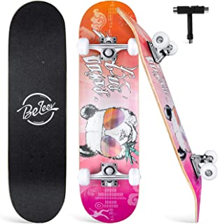 """Beleev Skateboards for Beginners, 31""""x8"""" Complete Skateboard for Kids Teens Adults, 7 Layer Canadian Maple Double Kick Deck Concave Cruiser Trick Skateboard"""