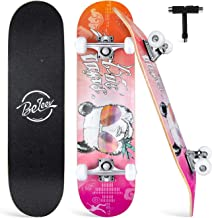 """Beleev Skateboards for Beginners, 31""""x8"""" Complete Skateboard for Kids Teens & Adults, 7 Layer Canadian Maple Double Kick D..."""