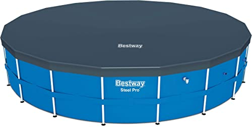 Bestway 58039E Flowclear 18 Foot Round PVC Pool Cover with Drain Holes for Above Ground Steel Pro and Power Steel Frame Swimming Pools, Black