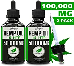 (2-Pack) Hemp Oil Extract for Pain & Stress Relief with 5-HTP - 50 000MG - 100% Natural Hemp Oil Extract for Anxiety, Better Sleep, Mood & Stress, Skin & Hair - Made in USA