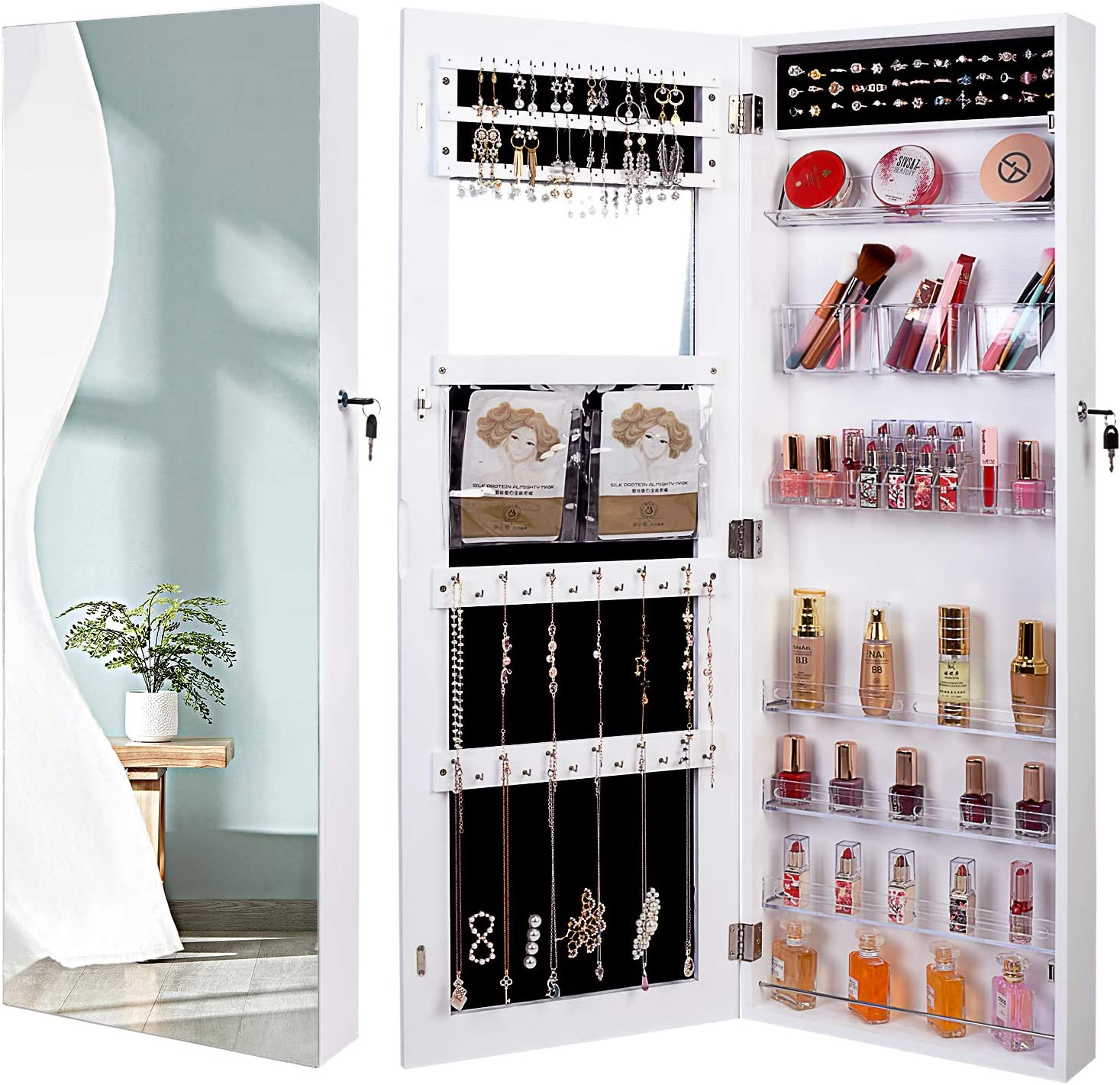 QUANYOU 6 LED Lights Lockable Full Mirror Full Screen Jewelry Organizer Wall Mounted/Door Mounted/Jewelry Cabinet Jewelry Armoire with Mirror/Full Length Mirror Hanging Mirror 7025 (White) : Clothing, Shoes & Jewelry
