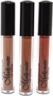 KLEANCOLOR 3 SHADES MADLY MATTE LIP GLOSS NATURAL NUDE BEIGE COLLECTION LIQUID + FREE EARRING