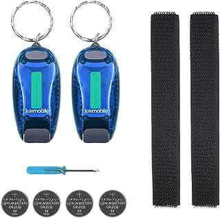 kwmobile 2er Set LED Sicherheitslicht - Blinklicht Licht Clip - Joggen mit Batterien Klett Armband - mehr Sichtbarkeit bei Dunkelheit - COB Upgrade
