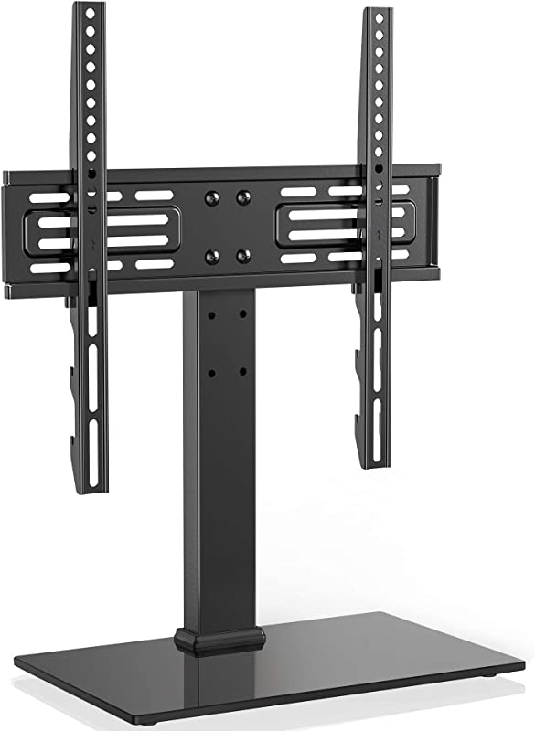 FITUEYES Universal TV Stand Table Top TV Stand For 27 55 Inch LCD LED TVs 6 Level Height Adjustable TV Base Stand With Tempered Glass Base Security Wire VESA 400x400 Holds Up To 88lbs TT103701GB