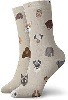 Calcetines de algodón acolchados para entrenamiento, senderismo, caminatas, deportes, para hombres y mujeres, cabezas de perro 4