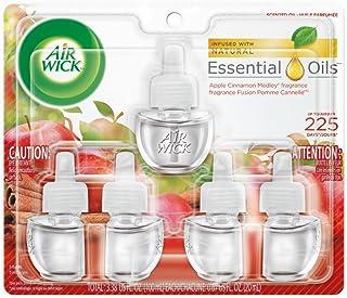 Air Wick plug in Scented Oil 5 Refills, Apple Cinnamon Medley, (5x0.67oz), Essential Oils, Air Freshener