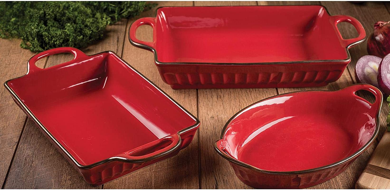 Oven To Table Premium Fluted Bakeware Set Oven Microwave Dishwasher And Freezer Safe Red