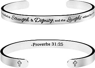 Joycuff Christian Bracelet Bible Verse Jewelry Religious Gift for Women Inspirational Scripture Cuff Bangle Friend Encouragement