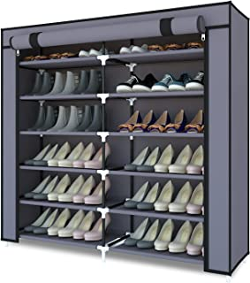 Meerveil Armoire à Chaussures,Meuble à Chaussures,Armoire Tissus Rangement de Chaussures,Etagères de Rangement pour 36 Pai...