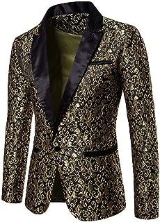 Auppy Mens Suit Floral Party Dress Suit Stylish Dinner Tuxedo Jacket Wedding Blazer Halloween/Cosplay Tuxedo Jackets Blazers