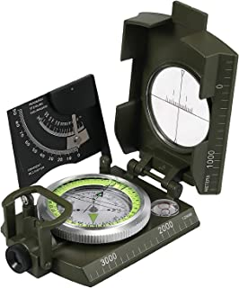 Proster IP65 Compass with Sighting Clinometer Professional Military Compass Metal Camping Compass Waterproof with Carry Bag for Camping Hunting Hiking Geology Activities